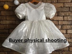 Image 4 - לבן נצנצים ילדה שמלת Baptismal שמלה לתינוק אלגנטי המפלגה בנות שמלות גדול bow טוטו נסיכת חתונה תינוקת שמלה