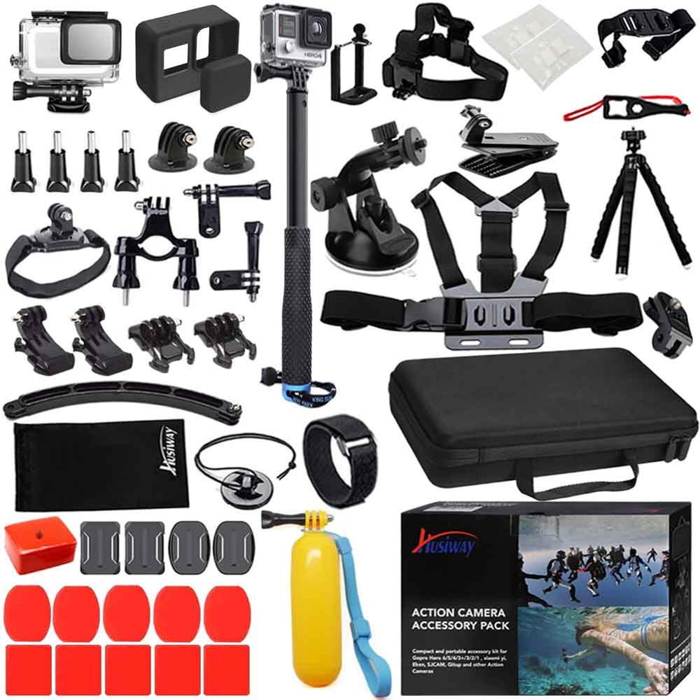 Husiway Accessories Set for Gopro hero 7 6 5 Black Waterproof Housing Silicone Case Screen Lens Protector 57A-in Sports Camcorder Cases from Consumer Electronics