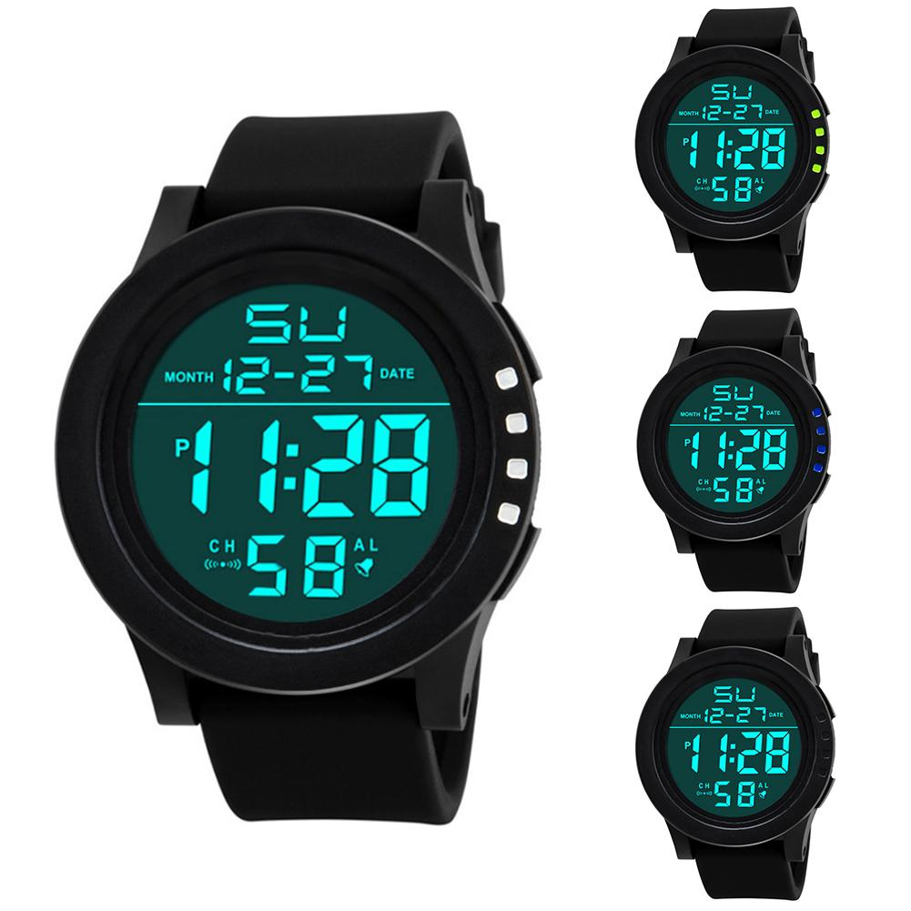 Men Waterproof Electronic Digital Dual LED Display Calender Alarm Sports Watch