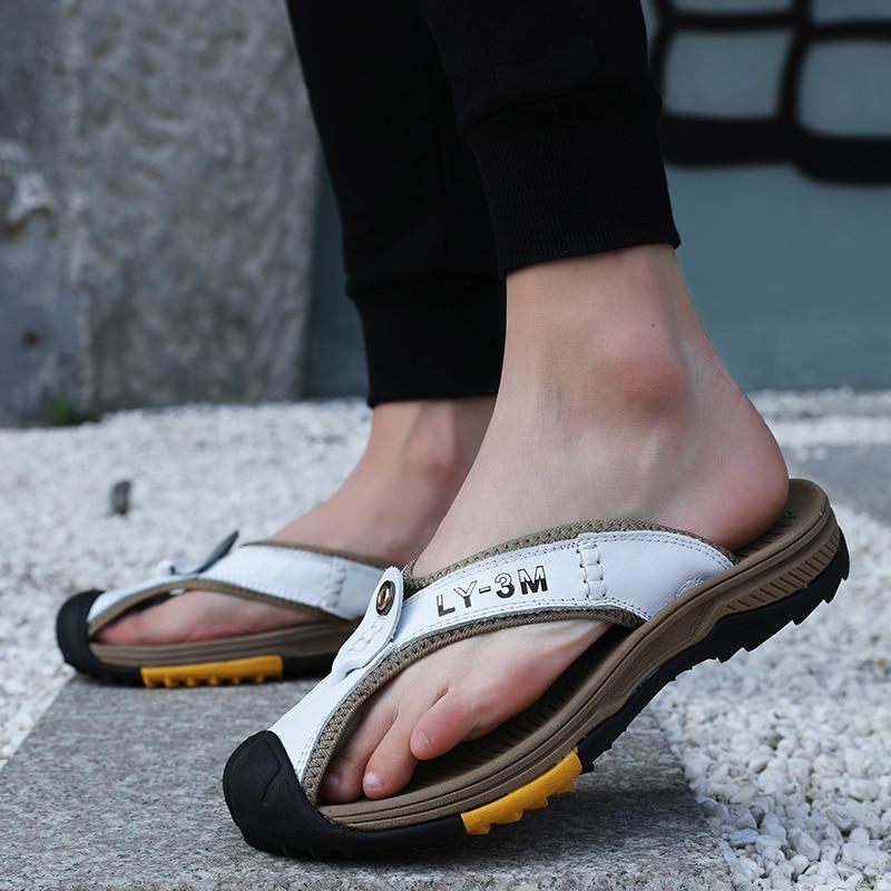 Couro cabeça flip-flop sandálias 2021 verão nova