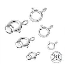 5 uds. De cierre de anillo de Primavera de Plata de Ley 925 con anillo de salto abierto, cierre de joyería para cadena, collar, pulsera, conectores, venta al por mayor