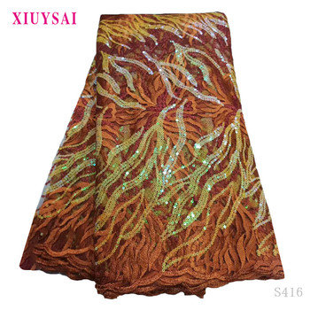 XIUYSAl African Sequins Lace Fabric High Quaity 3d Sequins Fabric Embroidery Tulle Lace Fabric For African Lace Party S416