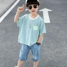 boys stripe KISBINI Kids Boys Summer Clothing Sets Cotton Blue Stripe T-Shirt Demin Shorts Suit Children Boys Clothes Set 2T-7T