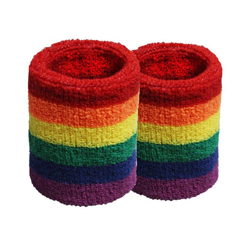 Unisex Sports Workout Rainbow Striped Headband  Towel Sweatband Breathable Bracers Running Badminton Support Wrap