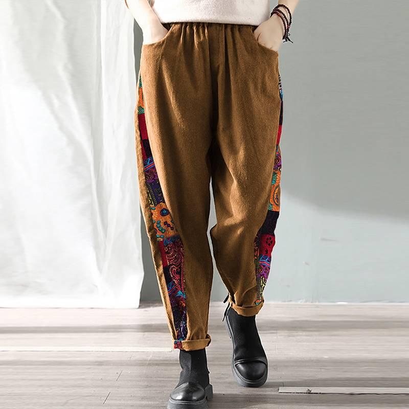 Printed Patchwork Pants Women Corduroy Pockets Trousers 2020 Vintage Plus Size Wide Leg Pantanlones Femme Bottoms 5XL Streetwear