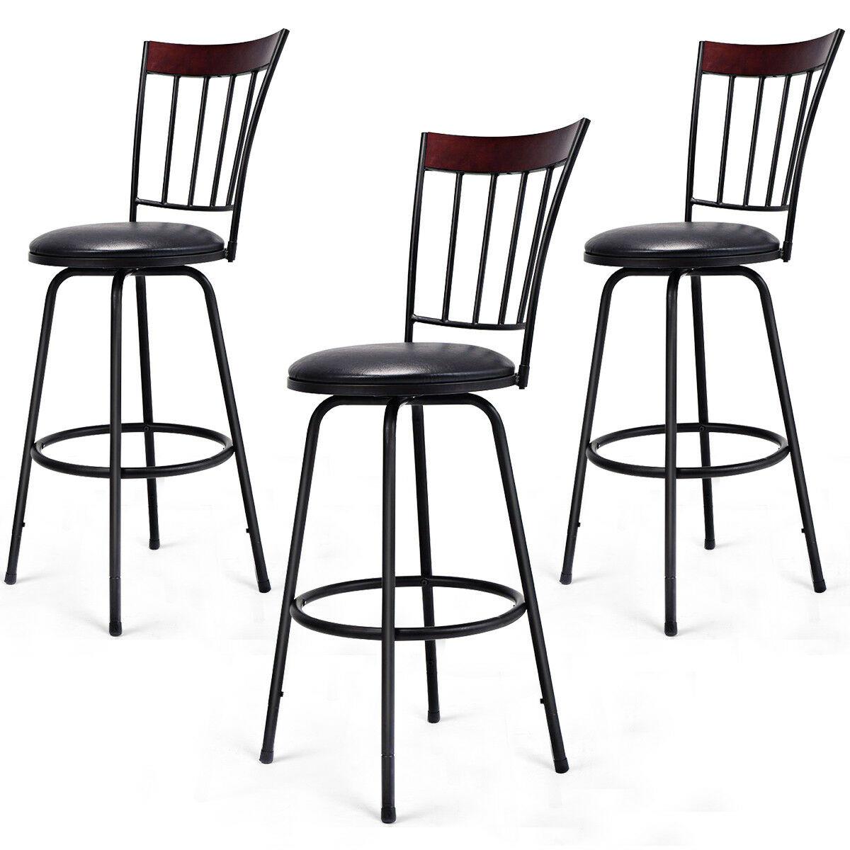 Costway Set Of 3 Swivel Bar Stools PU Leather Steel Frame Barstool Bistro Pub Chair