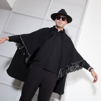Cape Men Fall and Winter Cape Style Korean version of handsome Cardigan with fringe personality Black Cape Cape Fashion фото