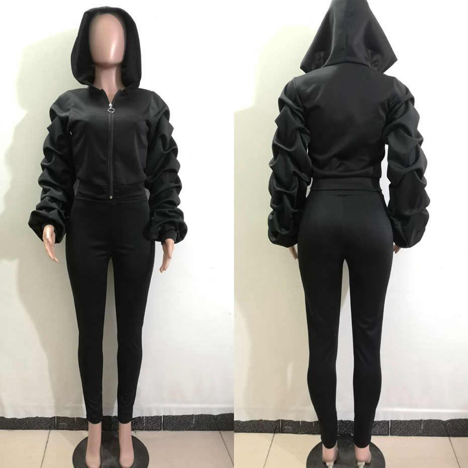 HAOYUAN Tweedelige Set Vrouwen 2020 Herfst Winter Rave Kleding Hoodies Top en Pant Sweat Suits Sexy 2 Stuk Outfits bijpassende Sets