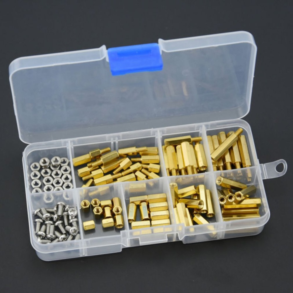 120Pcs M3 Brass Standoff Spacer PCB Board Hex Screws Nut Assortment Kit Female-Female Spacers Male-Female Spacers