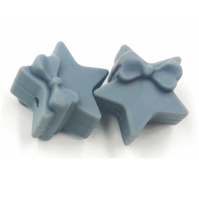 100 silikonowe koraliki akcesoria samoprzylepne Food Grade łuk pięcioramienna gwiazda silikonowe zęby smoczek smoczek łańcucha produkcji Bpa za darmo