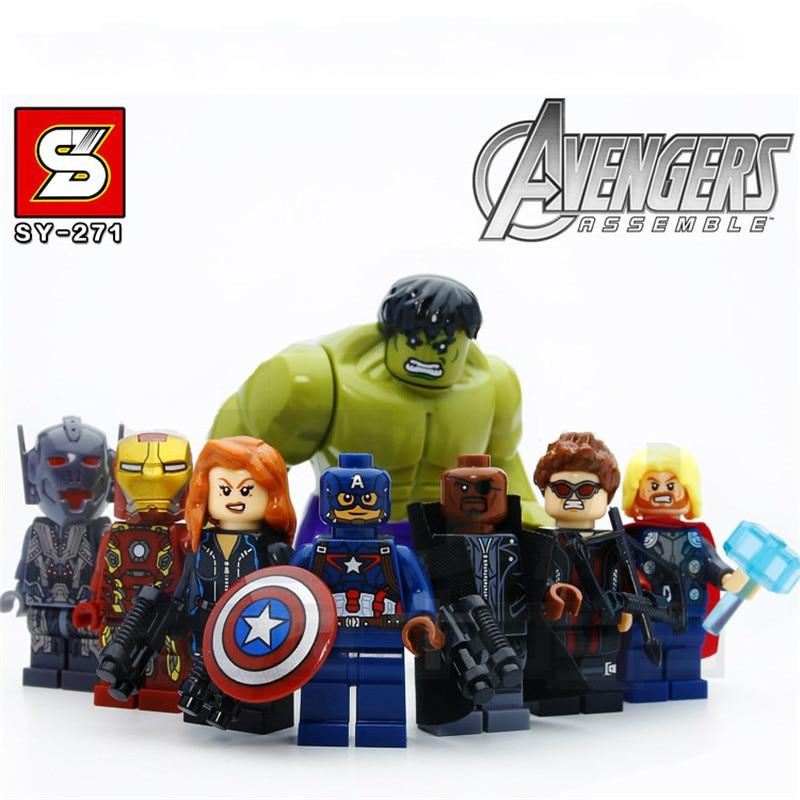 8 ชิ้น/ล็อต Hulk IRONMAN กัปตัน US Thor Super Heros Legoings Marvels Avengers Action Figures Duplo Building บล็อกของเล่นของขวัญ