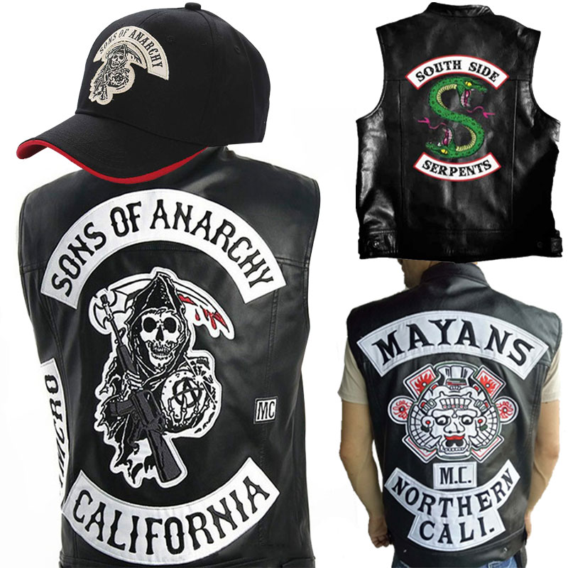 South Side Serpents Waistcoat Sons Of Anarchy Embroidery Leather Rock Vest Cosplay Costume Black Motorcycle Sleeveless Jacket