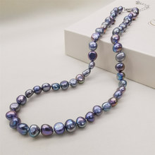 DMNFP398 Natural Freshwater Pearl Necklace Black/White/Pink/Purple Pearl Necklace Fine Pearl Jewelry For Women(China)