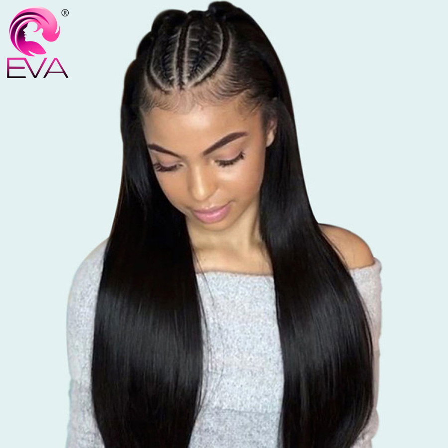 Eva Hair Straight 13x6 Lace Front Human Hair Wigs Pre Plucked 370 Fake Scalp Lace Front Wigs With Baby Hair Brazilian Remy Hair