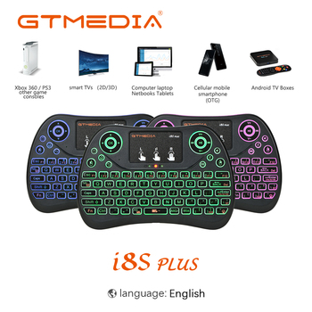 GTMEDIA 7 Color Backlit I8 Mini Spanish Wireless Keyboard Mouse 2.4ghz USB Keyboard Touchpad for Laptop Smart TV English Spanish topmate keyboard and mouse pack 2 4 ghz wireless keyboard and mouse pack qwerty for ipad macbook laptop tv spanish black