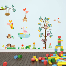 Jungle Wild Forest Animals Wall Stickers Decals Monkey Tree Bedroom Living Room Art Home Decor PVC Mural Posters