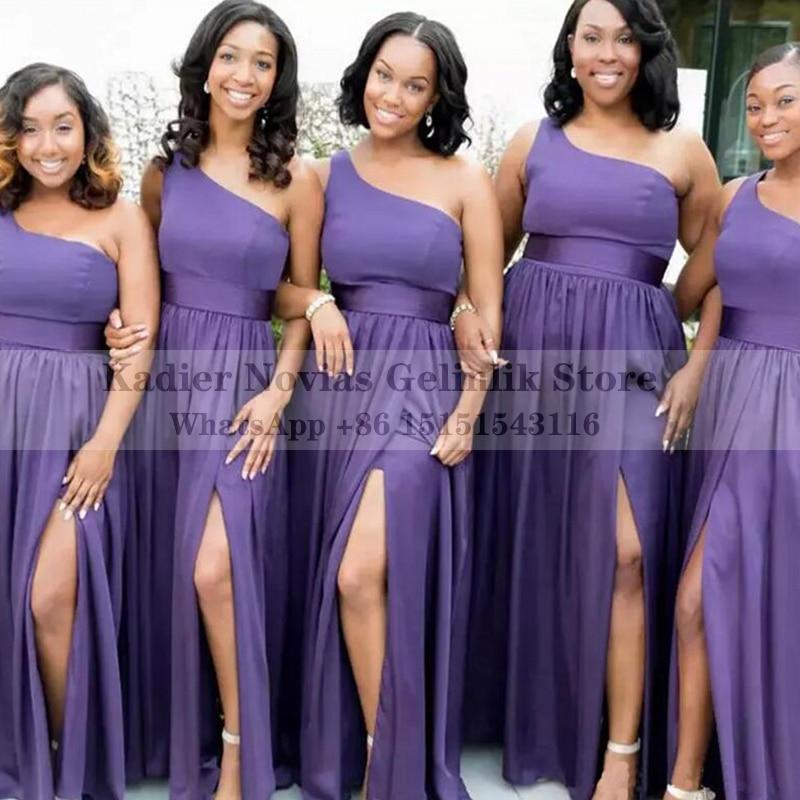 Demoiselle D Honneur Robe Africaine Long Purple Chiffon Bridesmaid Dresses Wedding Party Maid Of Honor Dress