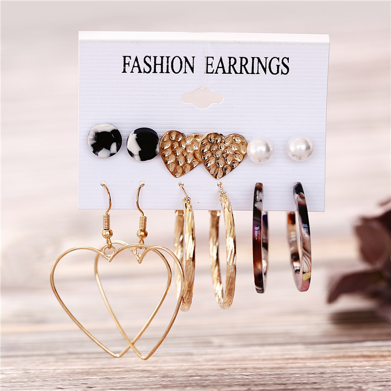 H47493a8dcbc24392a1ce09fc3fd9254f4 - IF ME Fashion Vintage Gold Pearl Round Circle Drop Earrings Set For Women Girl Large Acrylic Tortoise shell Dangle Ear Jewelry
