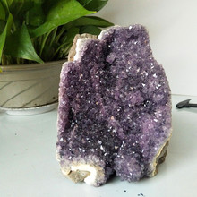Natural stone amethyst geode quartz crystal cluster home decor display