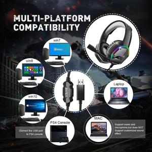 Image 5 - Проводные Игровые наушники EKSA E1000 с USB, профессиональная игровая гарнитура 7,1 виртуального окружающего звучания с микрофоном светодиодный светильник кой для PS4, ПК, зеленые, серые