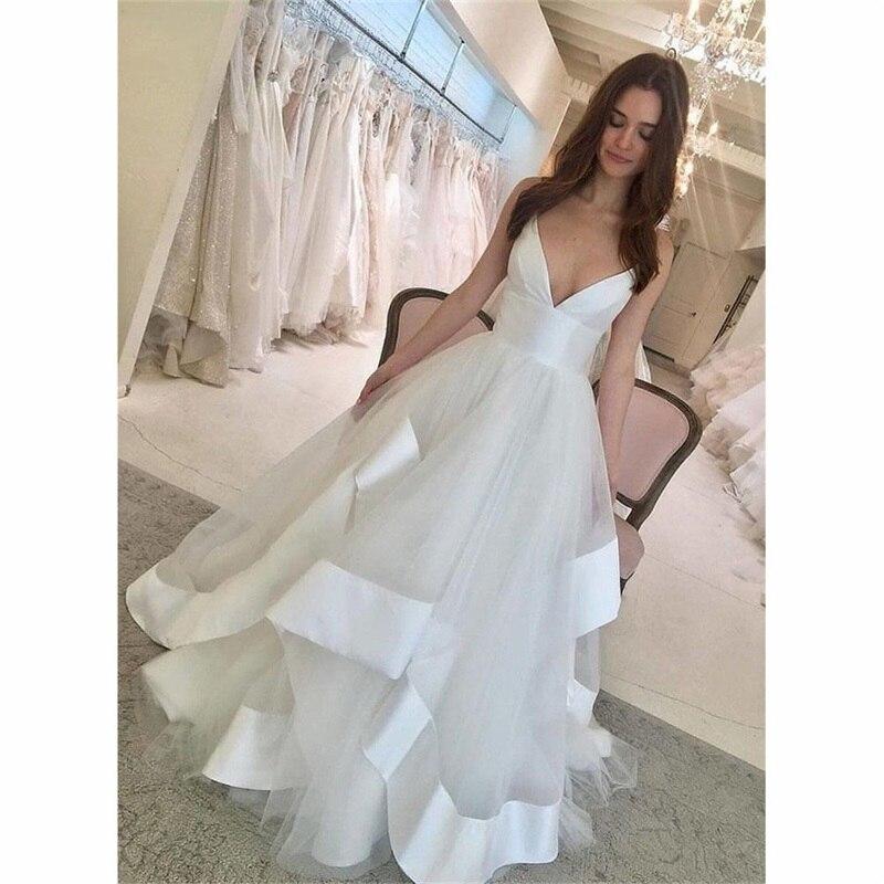 Beach Wedding Dress Appliques Lace Sexy Spaghetti Straps Backless Wedding Gown Elegant Simple Bride Dress 2020 Robe De Mariée