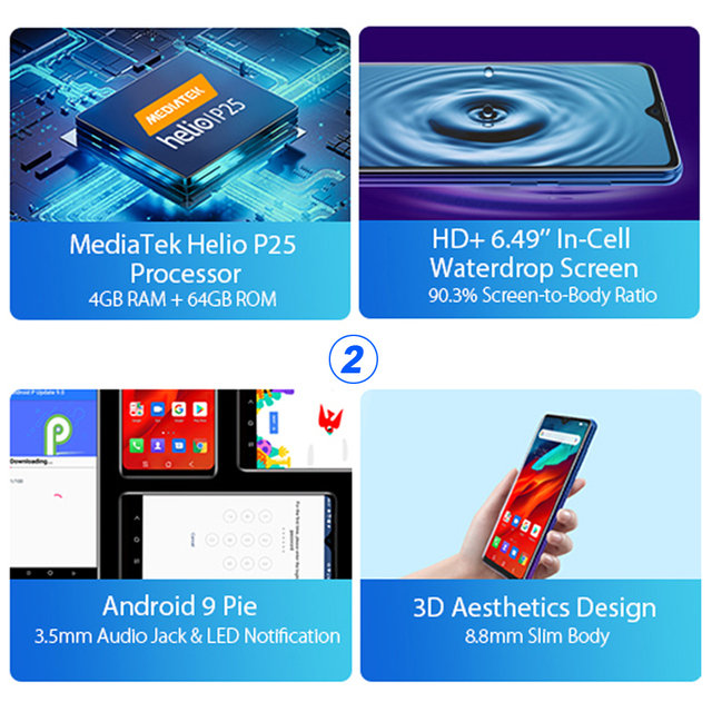 """Blackview A80 Pro 6.49"""" Smartphone 4GB 64GB Octa Core Android 9.0 4G LTE Mobile Phone Quad Rear Cameras Global Version 4680mAh"""