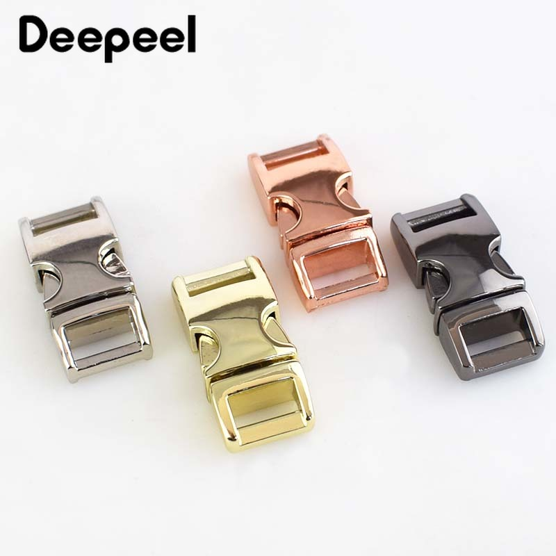 Deepeel4pcs Metal Side Release Buckle 10mm Paracord Bracelet Buckle Dog Collar Webbing Belt Clip Clasp For Bags DIY Leathercraft