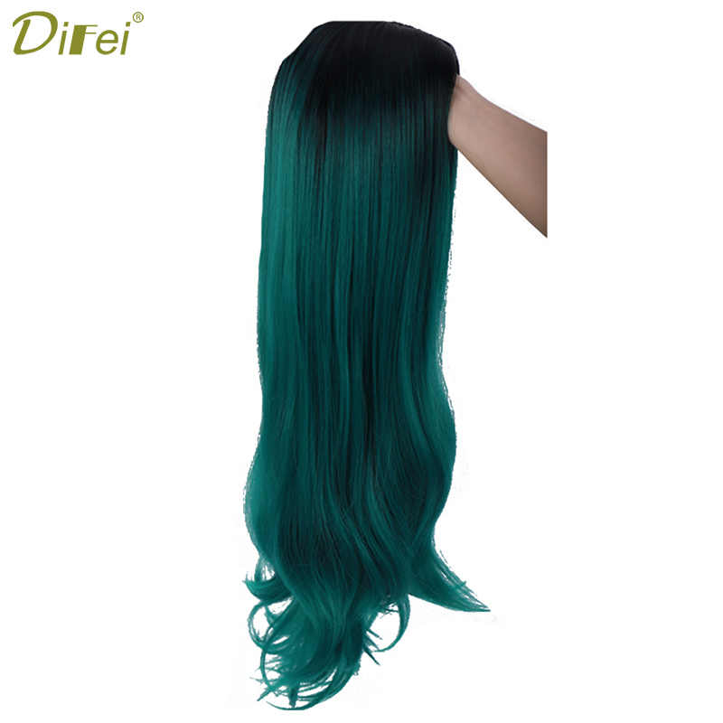 DIFEI  Pure Green long wavy wig Synthetic Wigs for Women Cosplay Wigs Middle Part  Braided Wigs