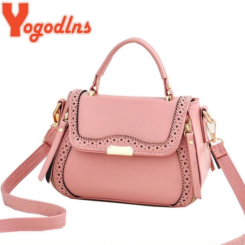 Yogodlns Elegant Women PU Leather Crossbody Bag Female Single Shoulder Flap Bags Top-handle Openwork Pattern Handbag Fall Autumn