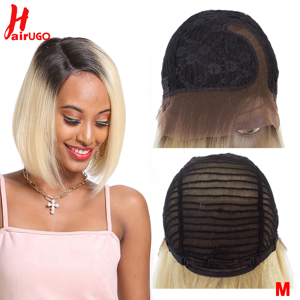 Short Lace Right Part Human Hair Wigs Ombre Blonde 613 Human Hair Wigs Remy Brazilian Hair Bob Wig 10Inch Middle Ratio HairUGo