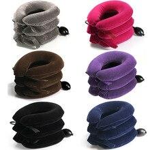 MHKBD 3 слоя тяги шеи полный бархат массаж шейного позвонка растягивание надувной воротник подушка шеи массажер 6 цветов