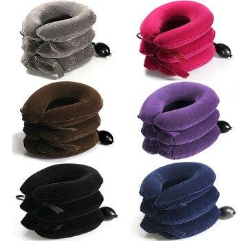 MHKBD 3 Schichten Neck Traktion Voller Samt Massage Halswirbel Stretching Aufblasbare Kragen Kissen Neck Massager 6 Farben