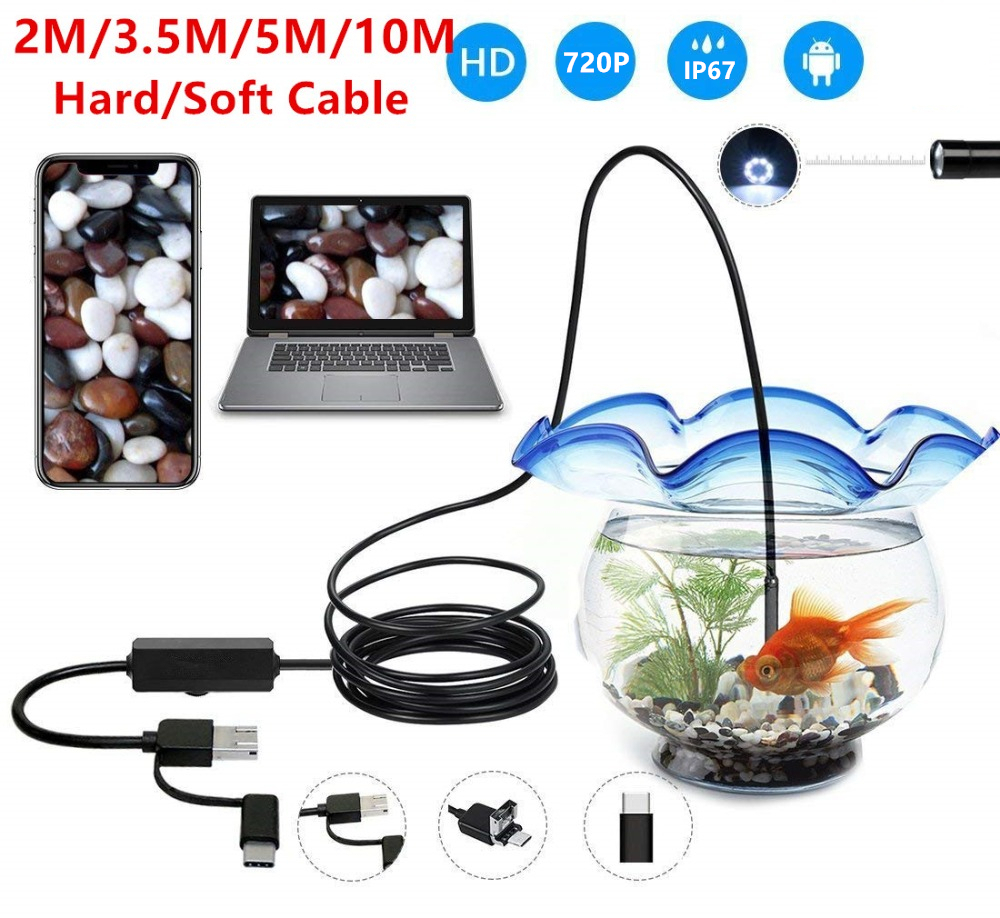 3 In 1 USB Endoscope Hard/Soft Cable 720P Borescope Inspection Camera For Android Type-c PC Waterproof Snake Camera 2/3.5/5/10M