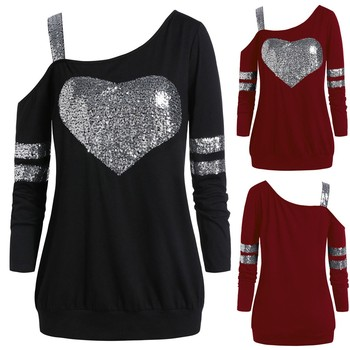 Camiseta mujer moda de talla grande forma de amor lentejuelas cuello sesgado túnica camisetas Poleras Camiseta Harajuku Camiseta superior Mujer