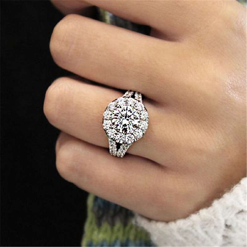 Flash-encrusted 925 Silver Diamond Ring For Women Round Anillos Bizuteria Engagement Topaz Gemstone S925 Silver Jewelry Rings