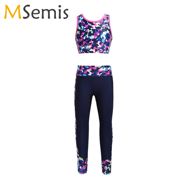 Kids Girls Ballet Dance Gymnastics Costume Outfit Digital Print Sleeveless Mesh Tanks Crop Top With Leggings Stage Dancewear - discount item  32% OFF Stage & Dance Wear