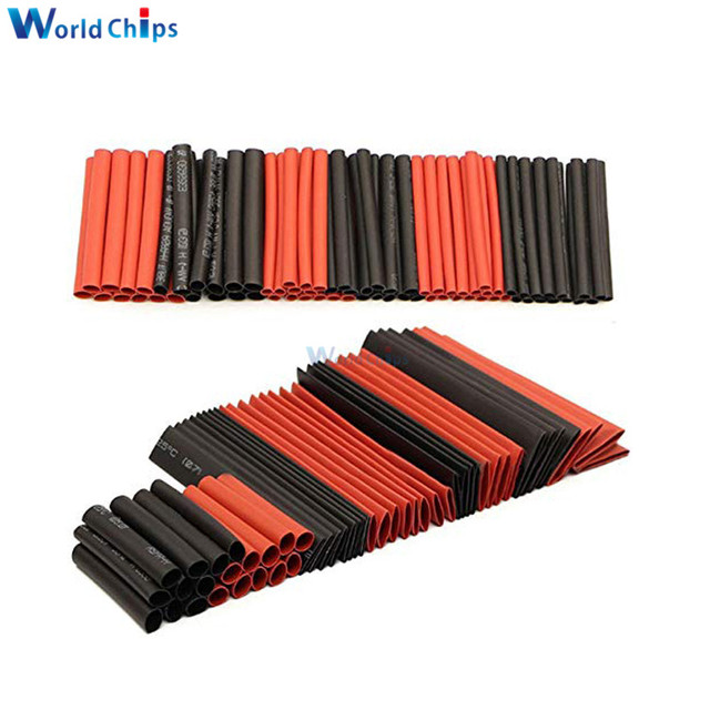 127Pcs Red Black Heat Shrink Tubing Polyolefin 2:1 Electrical Wrap Wire Cable Sleeves Insulation Shrinkable Tube Assortment Kit 2