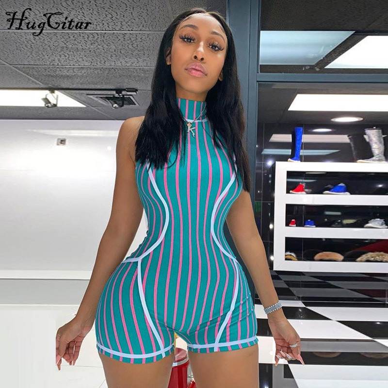 Hugcitar 2019 Sleeveless High Neck Zippers Patchwork Striped Sexy Playsuit Autumn Women Streetwear Stretchy Outifts Body