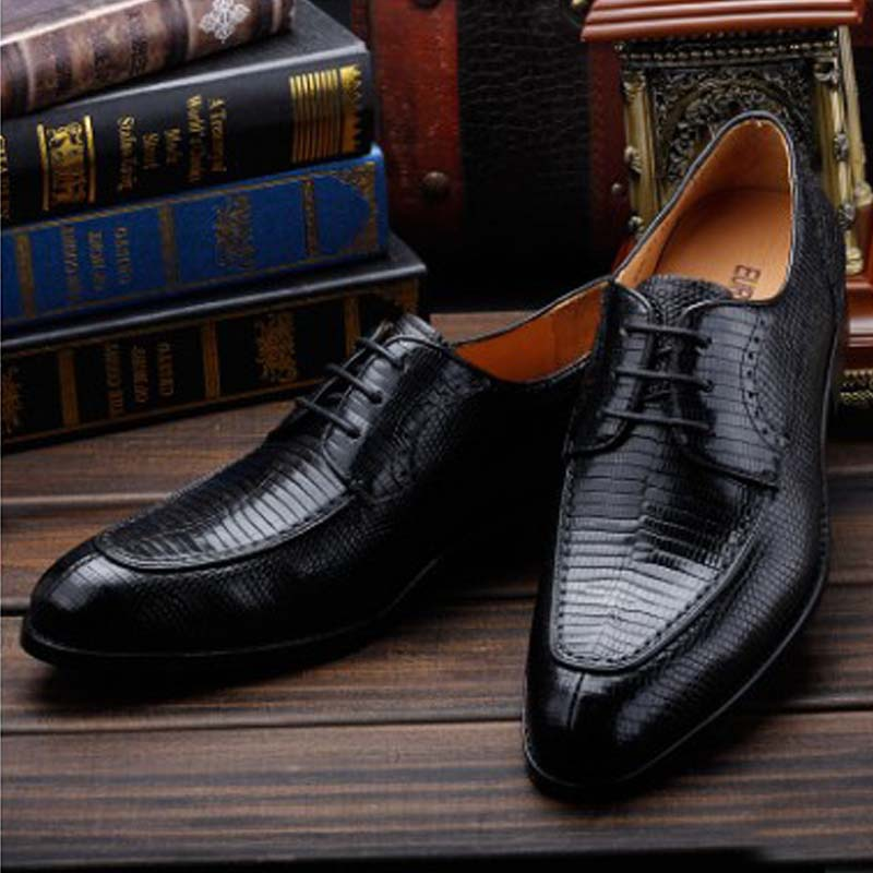 Ourui True  Lizard Skin  Business  A Suit  Men's Shoes   Manual  Shoes  Male Men Shoes