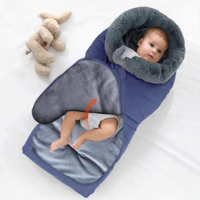 $ US $31.81 Winter Baby Sleeping Bag Infant Envelope For Stroller Footmuff Warm Sleepsack Pram Windproof Newborn Anti-kick Cotton Blanket