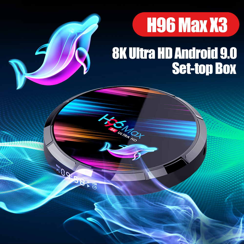 H96 Max X3 Android 9,0 8K TV Box Amlogic S905X3 64-bit Quad Core 8K x 4K @ 24 fps 4K x 2K @ 30fps 4G 128G Set-top Box SmartTV box