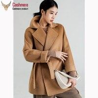 Ladies coat double sided water wave cashmere coat female winter wool coat female lapel dark blue coat classic suit collar coat