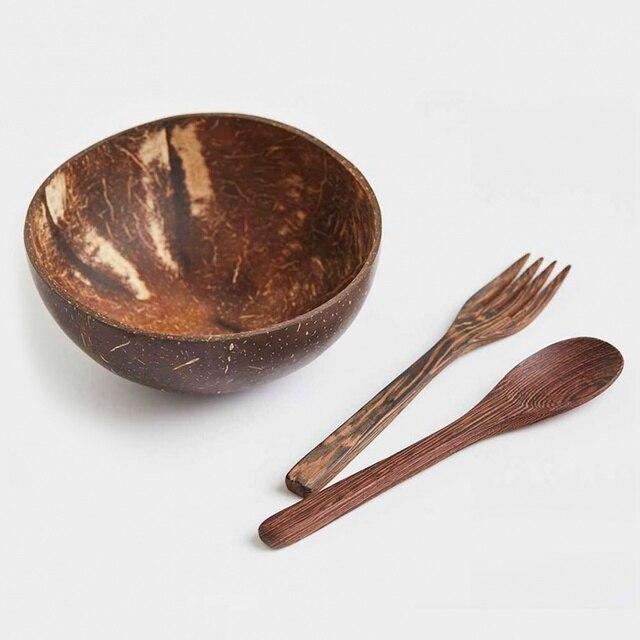 , indonéz kókuszdióból kézzel készített, teljesen organikus és környezetbarát tálakat és evőeszközöket!