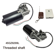 цена на 45GZ6299L DC Door Motor 24V 50RPM 45W DC Right Angle Reversible Electric Gear Motor for BBQ with Threaded Shaft 29kg High Torque