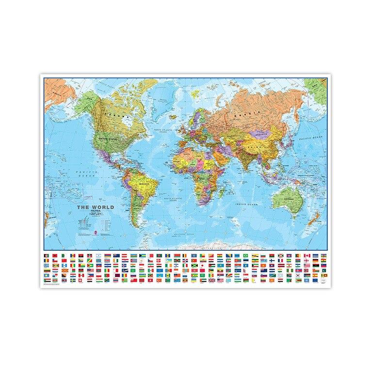 Mapa físico del mundo de 80*120cm Mapa Mundial plegable del mundo que No se decolora con banderas nacionales para la cultura y los viajes Mapa del mundo LED levitación magnética Globo flotante hogar electrónico antigravedad lámpara novedad bola Luz Decoración de cumpleaños