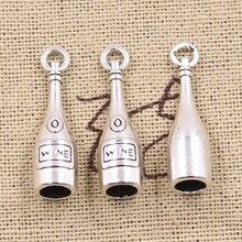 12 pçs encantos 3d garrafa de vinho 27x7x7mm antigo prata cor pingentes diy colar artesanato fazendo descobertas artesanal tibetano jóias