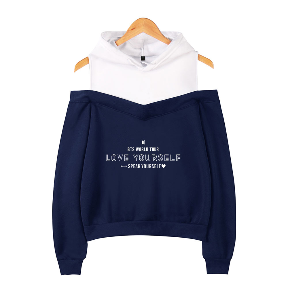 AliExpress Hot Selling BTS Speak Yourself Bulletproof Boys Loose-Fit Women's Off-Shoulder Hoodie
