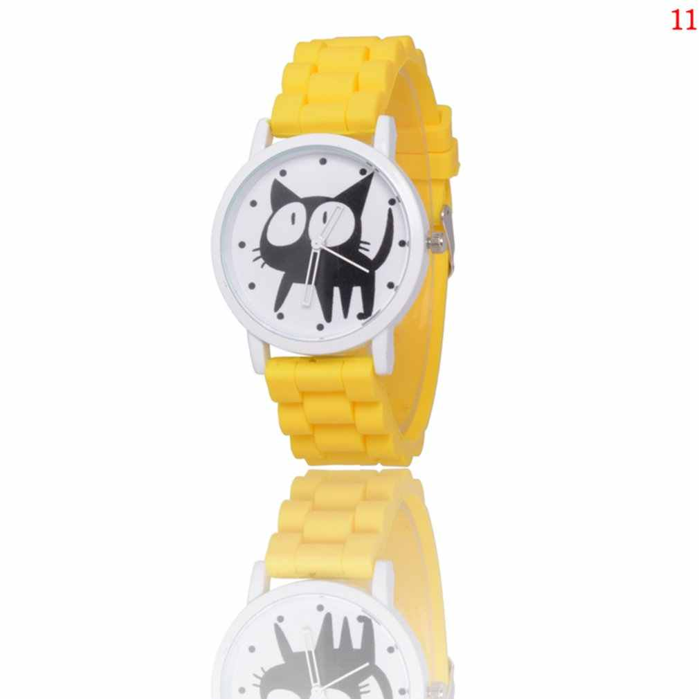 Silicone Strap Quartz Watch for Women Girl Cat Pattern Colorful Watch Cute Design Casual Wrist Watch 2019 New Watch