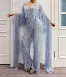 Silber Grau Fringe Strass Overall Geburtstag Feiern Quaste Body Bühne Dance Leggings Frauen Singer Dancer Outfit