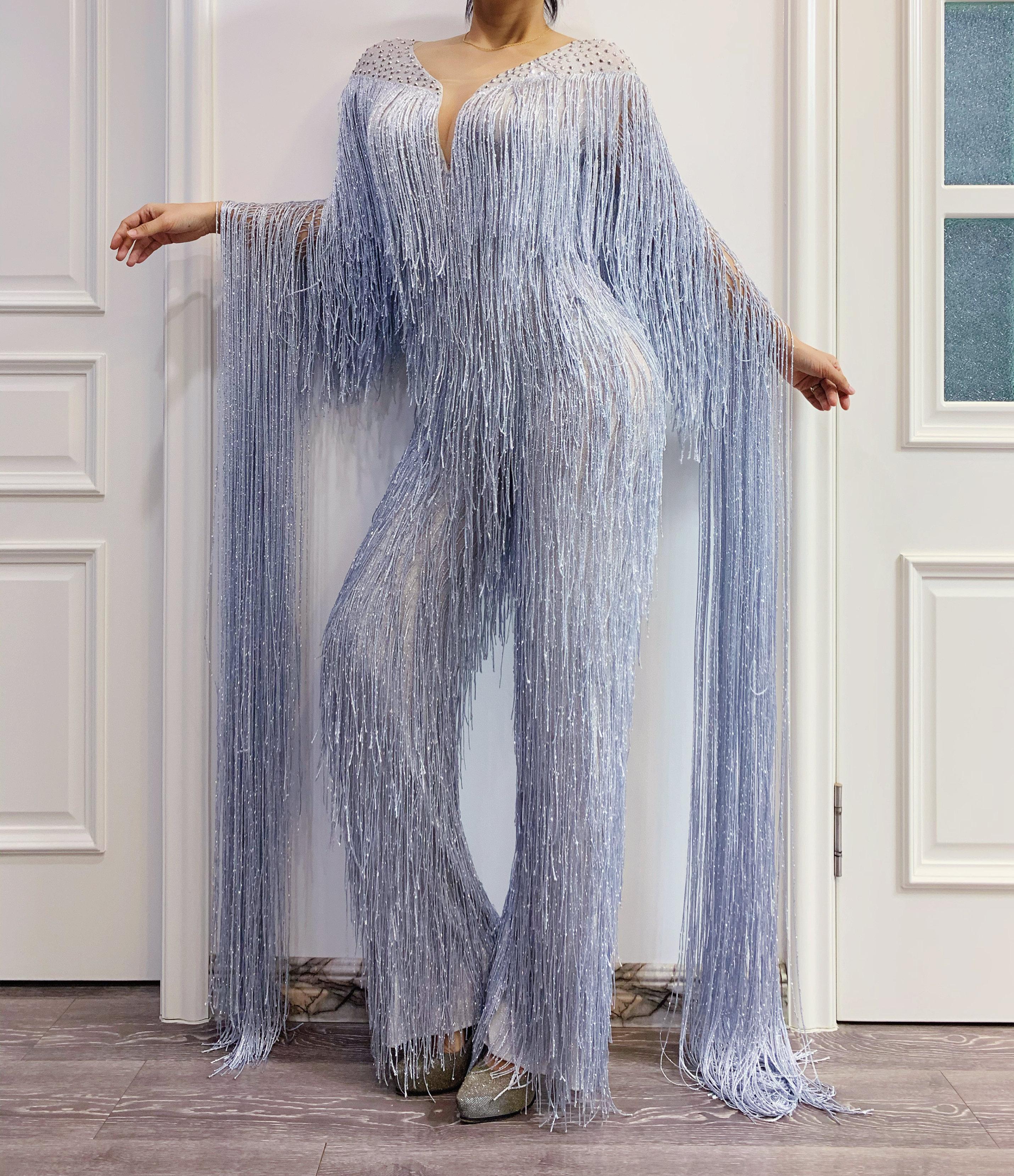 Silver Gray Fringe Rhinestones Jumpsuit Birthday Celebrate Tassel Bodysuit Stage Dance Leggings Women Singer Dancer Outfit
